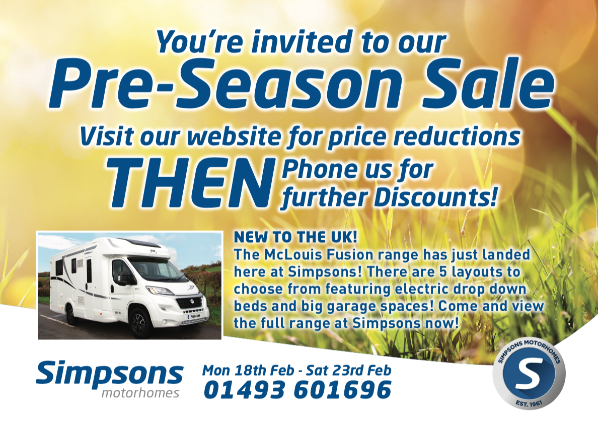 Pre-Season Motorhome sale - Feb 2019