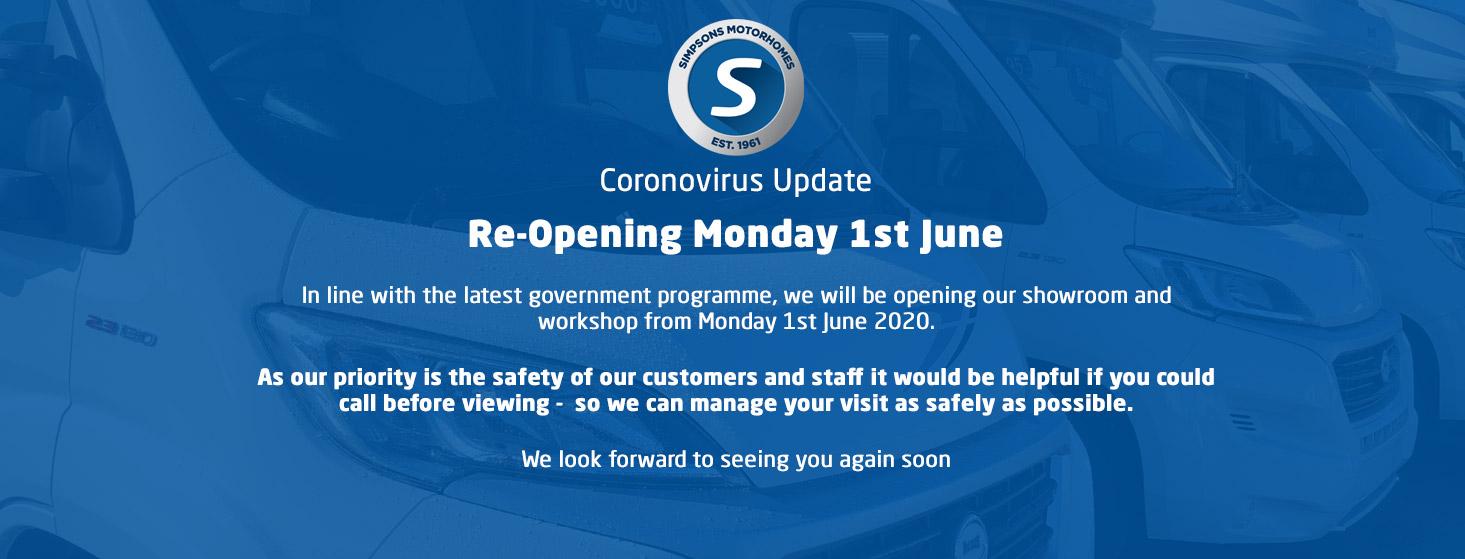 Simpsons Motorhomes re-opening 1st June 2020